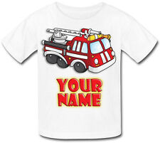 FIRE ENGINE PERSONALISED KIDS T-SHIRT - GREAT CHILD'S GIFT & NAMED TOO