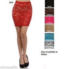 SHEER LACE FORM FITTING MINI SKIRT SHORT LENGTH O/S S M L