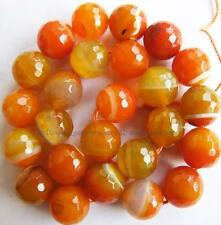 Round Faceted Orange Stirp Agate Loose Beads 15''New