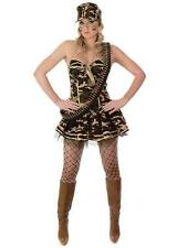 LADIES ARMY COMMANDO GIRL FANCY DRESS COSTUME CAMO BASQUE + SKIRT SIZE XS - L