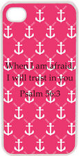 Pink and White Faith Anchor Psalm 56:3 Verse in Middle iPhone 4 4S Case Cover