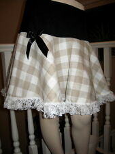 NEW Black,cream,fawn check Lace Frilly A Line Skirt,Retro,Lolita,hippy-all sizes