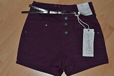 Primark Denim Co Ladies Purple Dog Tooth Shorts Hot Pants *BNWT* Various Sizes