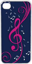 Navy Blue and Pink Treble Clef Design on iPhone 4 4s Case Cover