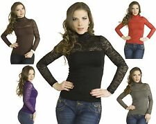 Basic SML stretch Fitted Floral Lace Turtleneck Mock Long Sleeve Tee T Shirt Top