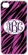 Interlocking Monogrammed Purple and Black Zebra Design on iPhone 4 4s Case Cover