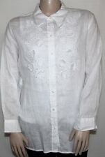 NWT Charter Club Long Sleeve Embroidered Linen Shirt (B) PLUS