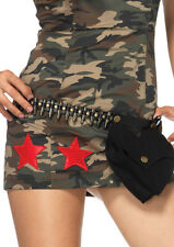 NEW Bullet Belt with Pouch Bag Sash for Adult Army or Military Costume Accessory
