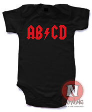 Naughtees Clothing ABCD Babygrow ACDC Style Cotton Rock Baby Rocker Babysuit