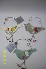 Gisela Graham Country Style Wooden Painted Bird Hanging Decoration
