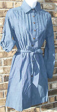 NEW OSO CASUALS blue long/fold sleeve button front Chambray dress,S,M,L,XL,2X,3X