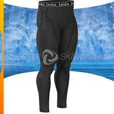 Mens Compression Plazma Skin Long Pants Black/Black Stripe P06B/B S ~ 2XL