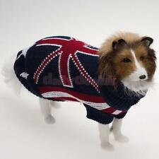 Urtleneck Pet Dog Sweater Clothes with UK national Flag Pattern Size XXS XS S M