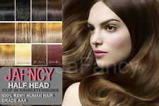 """20"""" Clip In Remy Human Hair Extensions Half Head 6 Piece - All Colours"""