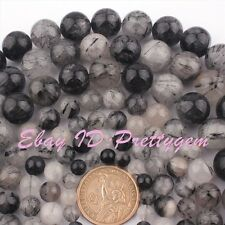 """Natural Round Black Rutilated Gemstone For Jewelry Making Beads 15"""" 6mm 8mm 10mm"""