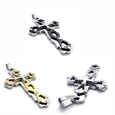 Stainless Steel Super  Cross Charm Pendant Necklace P469 ( Black,Gold,Silver)