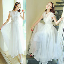 Women Lady Vintage Chiffon Lace Gown Long Maxi Evening Party Retro Pleated Dress