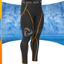 Mens Compression Plazma Skin Long Pants Black/Orange Stripe P06B/O S ~ 2XL