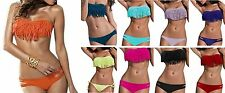 Ladies Fringe Frill Bandeau Bikini Fashion Swimsuit Black White Orange 6 8 10 12
