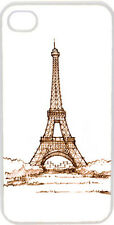 Sketched Red Paris Eiffel Tower Design on iPhone 4 4s Case Cover