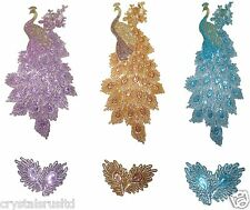 FABRIC GLITTER SEQUIN PEACOCK BIRD IRON-ON PATCH LOT QUILTING BEDSHEET TRANSFER