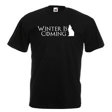 Winter is coming House stark Game Iron Thrones Robb Black T-Shirt Ice and fire