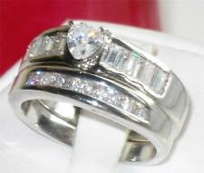 R076 HEART CUT SOLITAIRE  EMERALD CUTS  SIMULATED DIAMOND RING WEDDING  BAND SET