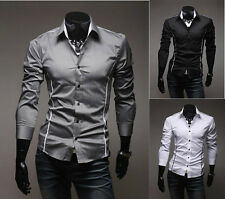 New Korean Fashion Stylish Casual Men's Slim Fit Dress Shirts Tops Long Sleeve
