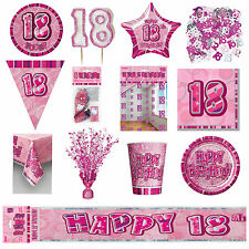 18th Pink Glitz Birthday Party Supplies Decorations Tableware Banners Balloons