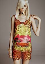 Versace H&M Dress UK Size 8 10 12 Leopard Sunset Sequin Stampa New Tags BNWT