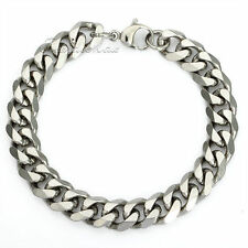 11mm MENS Chain Cuban Curb Link Stainless Steel Bracelet 7-11inch Silver Tone
