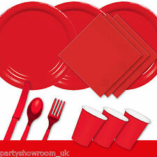 Red Tableware Birthday Party Table Cover Napkins Cups Cutlery Plates PS