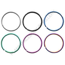 PLAIN FLEXIBLE NOSE HOOP CARTILAGE EAR CUT RING TITANIUM ANODIZED SURGICAL STEEL
