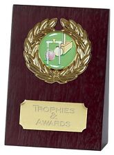 "CROQUET WOODEN WEDGE TROPHY 4"" or 5.25"" - PRICE INCLUDES YOUR ENGRAVING"