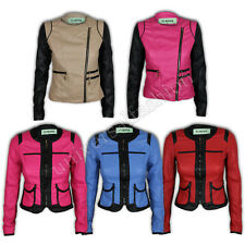 Womens Jacket Ladies Biker Leather Look Coat Spikes Stitch Contrast Zip Casual
