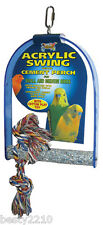 ACRYLIC BIRD SWING WITH PUMICE PERCH & COTTON ROPE TOY - FINCH - BUDGIE - PARROT