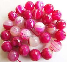 4mm6mm8mm10mm12mm14mm Round Faceted Pink Stirp Agate Loose Beads 15''