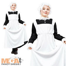 Girls Victorian Maid Costume + Mop Cap Christmas School Costume Outfit 6-12 Yrs