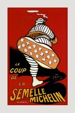 Semelle Michelin Belt Tires Smoking France French Vintage Repro Poster FREE S/H