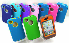 3 LAYERED iPHONE 4 4S IMPACT DEFENDER RUGGED HARD CASE w/ BUILT IN SCREEN COVER
