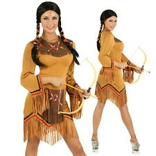 Adult Native American Indian Costume Pocahontas Fancy Dress Western Party Outfit
