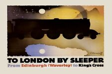 Train to London From Edinburgh Travel England UK Vintage Poster Repro FREE S/H