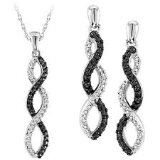 Womens White Gold Finish Diamond Dangle Chandelier Earrings + Pendant Charm