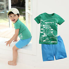 "2 Pcs Vaenait Baby Toddler Kids Outfits Homewear T-Shirt + Shorts ""Racing Set"""
