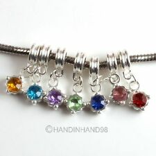 15pcs Lots Crystal Rhinestone Silver Plated European Dangle Charms Beads Fit DIY