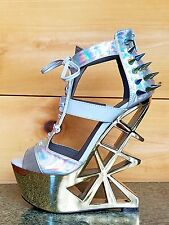 JCD Privileged Novice Silver Hologram Studded Spiked Cut Out Heel Less Wedge