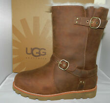 NEW NIB Authentic UGG Australia Noira Boots Acorn Leather 1001733 Womens Sz 5 6