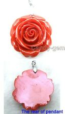 SALE Big 35mm Red Rose shape synthesize coral pendant-pen54 Free shipping