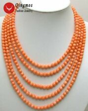 SALE 5 Strands natural Pink 6-7mm Round coral necklace & Big Shell Clasp-nec5691