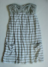 NWT New Authentic Abercrombie Fitch Summer Dress Light Gray Stripes Womens Sz S